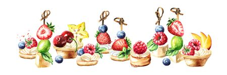 Festive buffet, Sweet Canapes and tarts with fruits and berries. Watercolor hand drawn illustration isolated on white background
