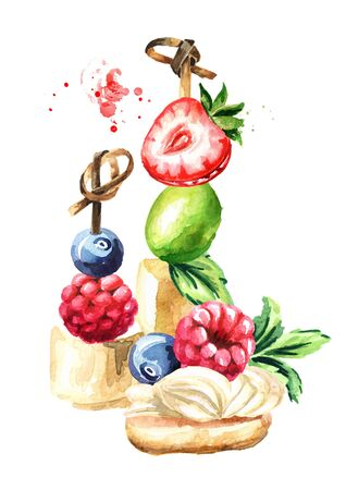 Festive food composition. Sweet Canape with fruits and berries. Watercolor hand drawn illustration isolated on white background