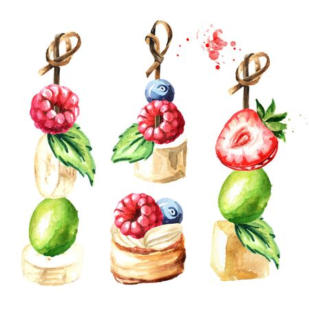 Festive food, Sweet Canape with fruits and berries set. Watercolor hand drawn illustration, isolated on white background
