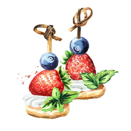 Festive food, Sweet Canape with fruits and berries. Watercolor hand drawn illustration, isolated on white background