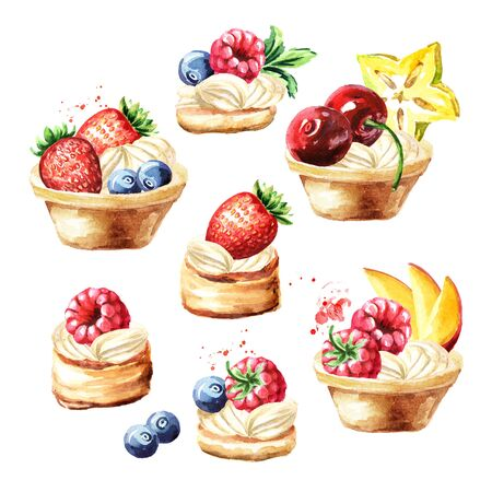 Festive food, sweet tarts with fruits and berries set, Watercolor hand drawn illustration isolated on white background Stock Photo