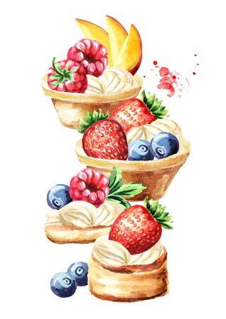 Festive food, sweet tarts with fruits and berries Watercolor hand drawn illustration isolated on white background