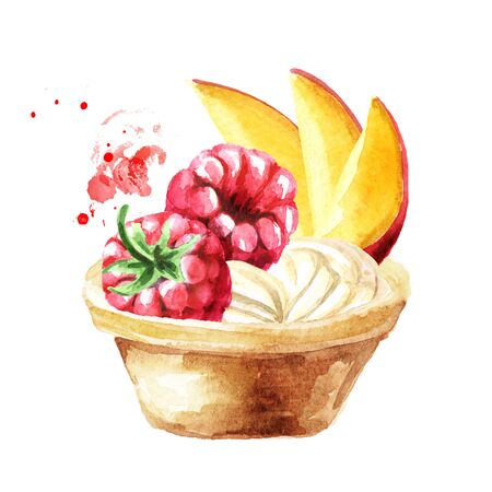 Festive food, Tart with fruits and berries. Watercolor hand drawn illustration, isolated on white background