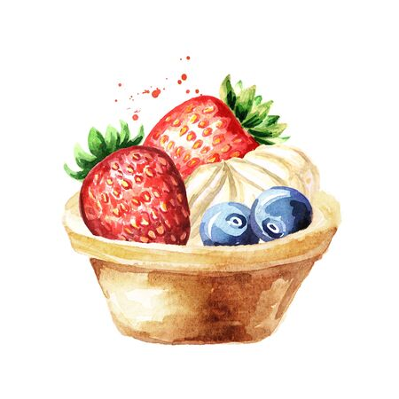 Festive food,Tart with fruits and berries. Watercolor hand drawn illustration isolated on white background