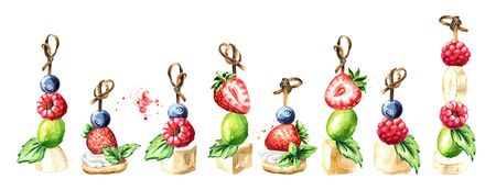 Festive food. Sweet Canape with berries and fruits set. Watercolor hand drawn illustration isolated on white background