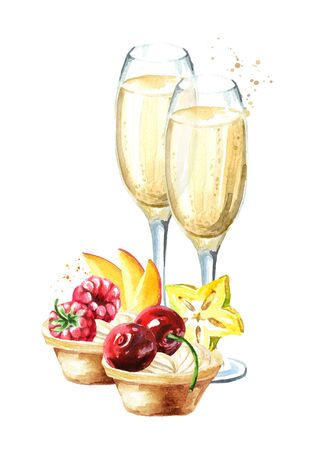 Festive food. Sweet Canape with berries and glass of champagne.  Watercolor hand drawn illustration, isolated on white background