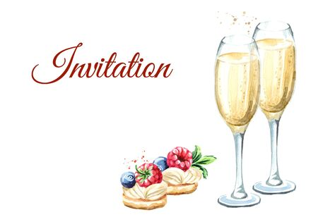 Festive food. Sweet Canape with berries and glass of champagne. Template for invitation with empty space for text.  Watercolor hand drawn illustration isolated on white background Stock Photo