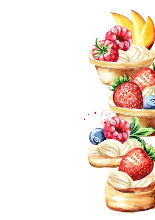 Festive food. Sweet Canape with berries. Template for invitation with empty space for text.  Watercolor hand drawn illustration isolated on white background