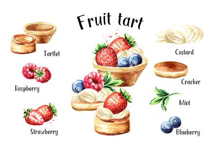 Festive food. Sweet tart with fruits and berries recipe and ingredients set. Watercolor hand drawn illustration, isolated on white background
