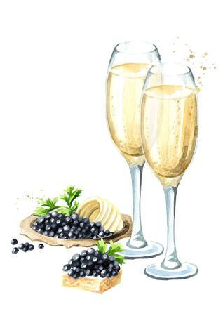 Festive food. Black caviar and glass of champagne. Watercolor hand drawn illustration isolated on white background Stock Photo