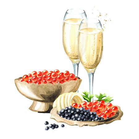 Festive food. Caviar and glass of champagne. Watercolor hand drawn illustration isolated on white background