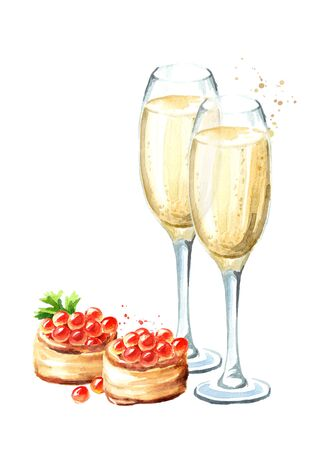 Festive food. Red caviar and glass of champagne. Watercolor hand drawn illustration isolated on white background Stock Photo