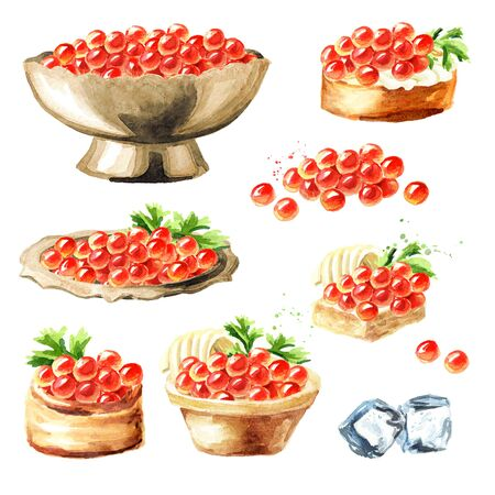 Red caviar set. Watercolor hand drawn illustration isolated on white background