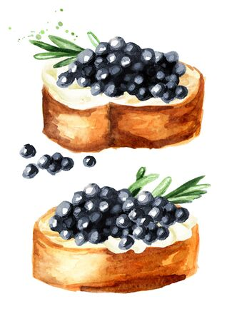 Sandwiches with black caviar. Watercolor hand drawn illustration, isolated on white background Stock Photo