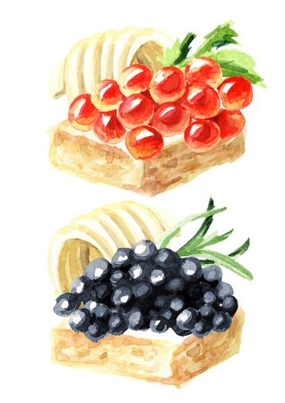 Sandwiches with red and black caviar, decorated with butter and herbs. Watercolor hand drawn illustration, isolated on white background