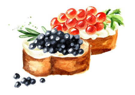 Sandwiches with red and black caviar. Watercolor hand drawn illustration, isolated on white background