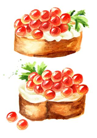 Sandwiches with red caviar. Watercolor hand drawn illustration, isolated on white background