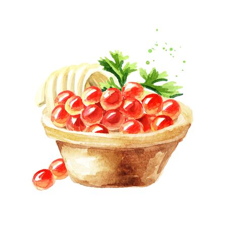Tart with red caviar. Watercolor hand drawn illustration isolated on white background Stock Photo