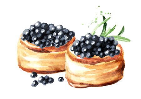 Tarts with black caviar. Watercolor hand drawn illustration, isolated on white background