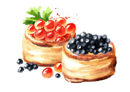 Tarts with red and black caviar. Watercolor hand drawn illustration, isolated on white background