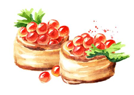 Tarts with red caviar. Watercolor hand drawn illustration, isolated on white background