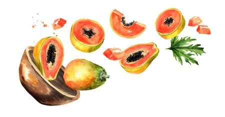 Bowl with ripe papaya. Hand drawn horizontal watercolor illustration, isolated on white background