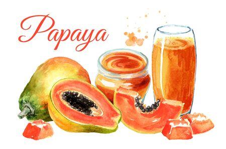 Papaya card. Watercolor hand drawn illustration, isolated on white background Stock Photo