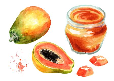Papaya jam with ripe fruits set. Watercolor hand drawn illustration, isolated on white background