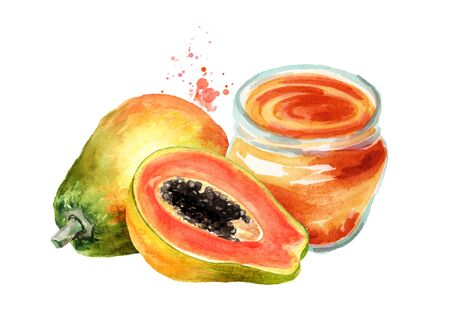 Papaya jam with ripe fruits. Watercolor hand drawn illustration, isolated on white background