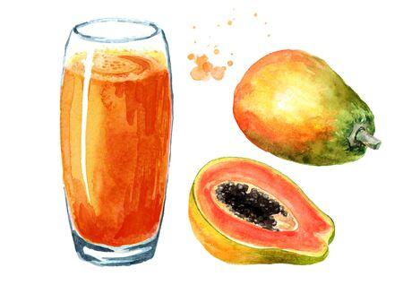 Papaya smoothie with ripe fruits set. Watercolor hand drawn illustration, isolated on white background