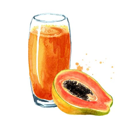 Papaya smoothie with ripe fruits. Watercolor hand drawn illustration isolated on white background