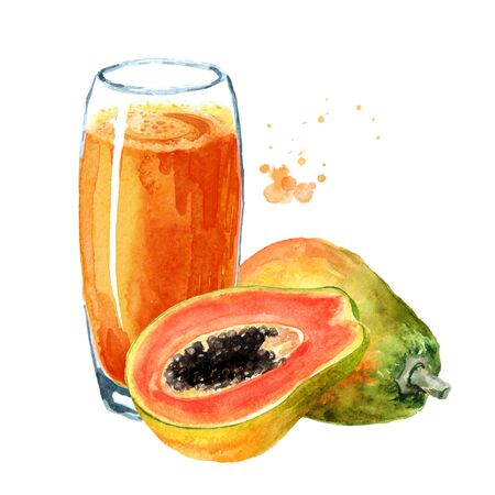 Papaya smoothie with ripe fruits. Watercolor hand drawn illustration, isolated on white background