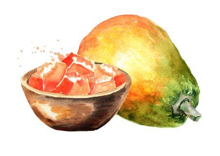 Whole and sliced sweet ripe papaya fruit. Watercolor hand drawn illustration isolated on white background