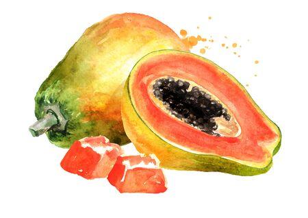 Whole, half and sliced sweet ripe papaya fruit. Watercolor hand drawn illustration, isolated on white background