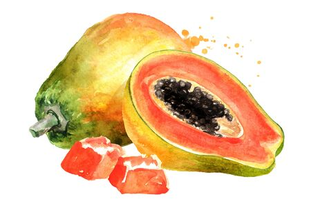 Whole, half and sliced sweet ripe papaya fruit. Watercolor hand drawn illustration, isolated on white background Zdjęcie Seryjne - 128116529