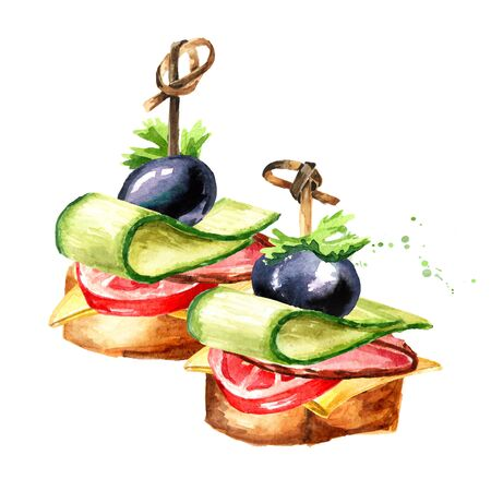 Appetizer for a festive table. Mini canape from baguette, cheese, cucumber and tomato. Zdjęcie Seryjne
