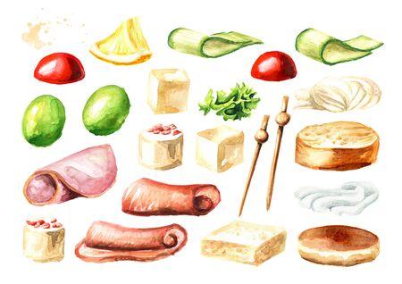 Appetizer for a festive table. Mini canape ingredients set. Zdjęcie Seryjne - 128599393