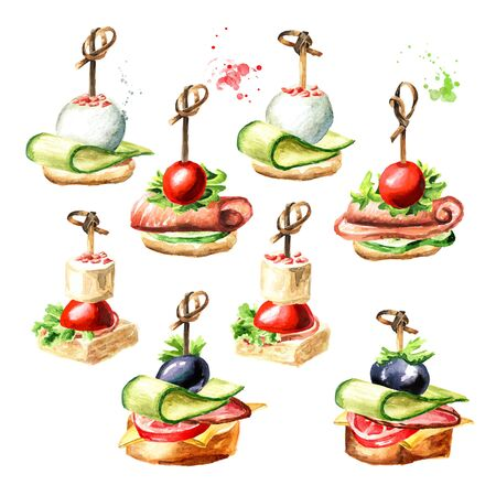 Appetizer for a festive table. Mini canape set.