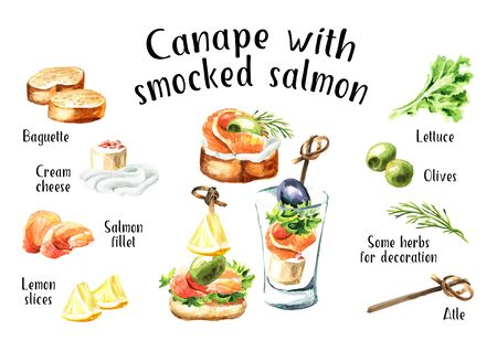 Appetizer for a festive table. Mini canape with  salmon fillet  recipe and ingredients set. Zdjęcie Seryjne