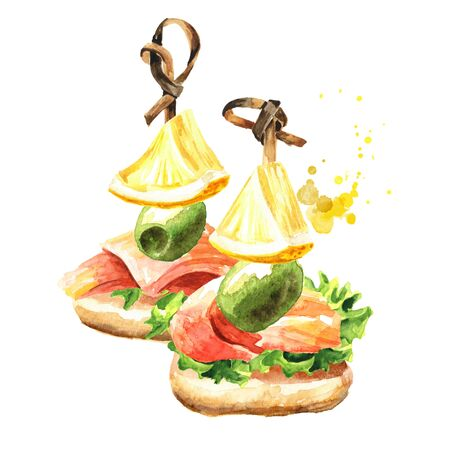 Appetizer for a festive table. Mini canape with fresh salmon fillet, olive and lemon slice.