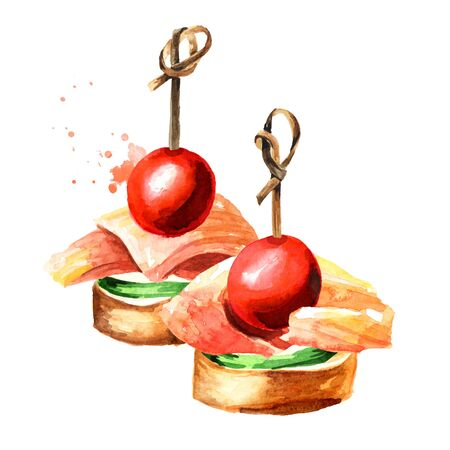Appetizer for a festive table. Mini canape with slice of cucumber, fresh salmon fillet and cherry tomato.