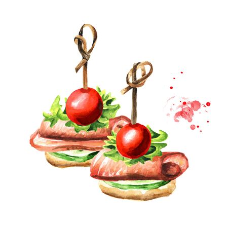 Appetizer for a festive table. Mini canape with slice of cucumber, ham and cherry tomato. Zdjęcie Seryjne