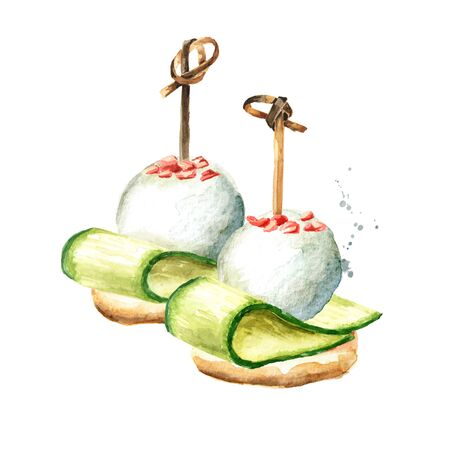 Appetizer for a festive table. Mini canapes from baguette, thin slice of cucumber and soft cheese.