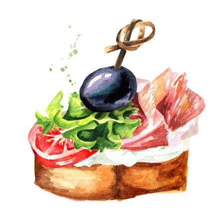 Canape Ham sandwich set.