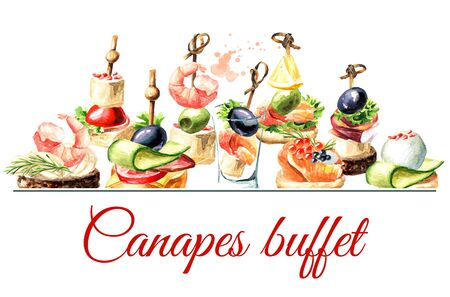 Canapes buffet card. Appetizer for a festive table. Zdjęcie Seryjne