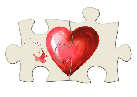 Love and romance illustration. Folded puzzle 2 halves of the heart. Watercolor hand drawn illustration, isolated on white background Zdjęcie Seryjne