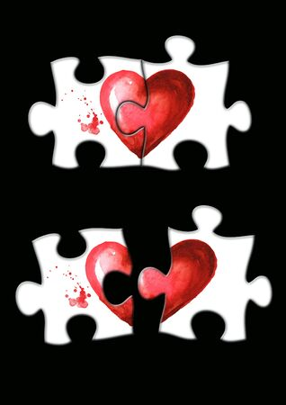 Love and romance illustration. Unfolded puzzle, 2 halves of the heart separately, not together, and Folded puzzle, together. Watercolor hand drawn illustration, isolated on white background Zdjęcie Seryjne