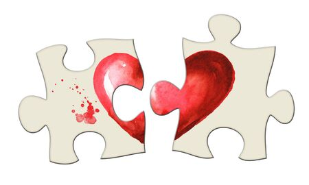 Love and romance illustration. Unfolded puzzle, 2 halves of the heart separately, not together. Watercolor hand drawn illustration, isolated on white background