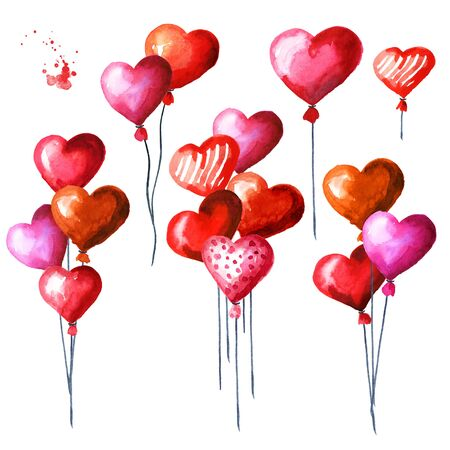 Love and romance illustration. Valentines red heart balloons set. Watercolor hand drawn illustration isolated on white background