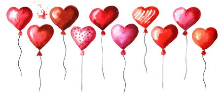 Love and romance illustration. Valentines red heart balloons set. Watercolor hand drawn illustration, isolated on white background